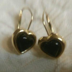 Jewelry - 14k onyx hear earrings!